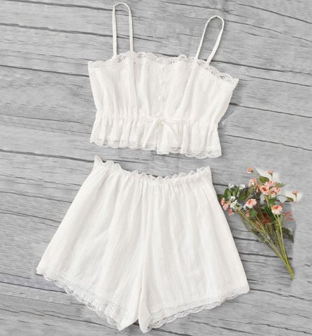 White Lace Trim Cami Pajama Spaghetti Strap Sleeveless Set
