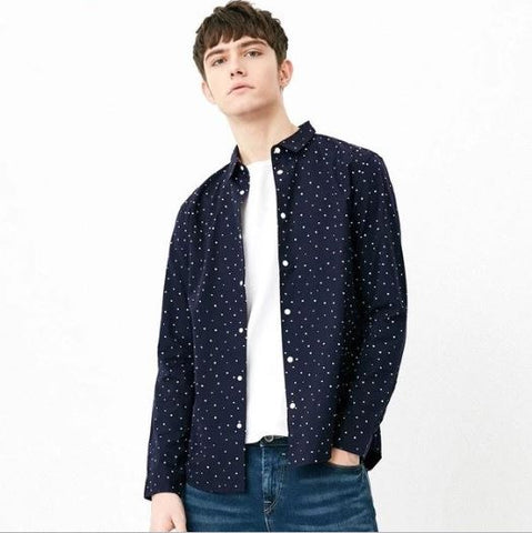 Polka Dot Turn-Down Collar Casual Shirt