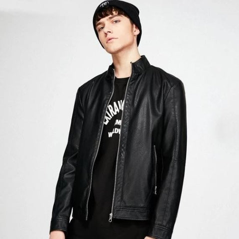 Men's Stand Collar PU Leather Biker Jacket