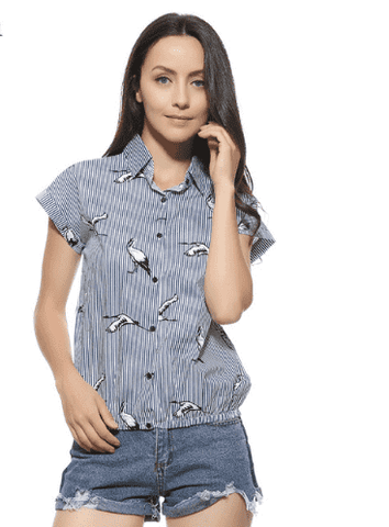 Birds Print Loose Blue Striped Turn-Down Collar Blouse