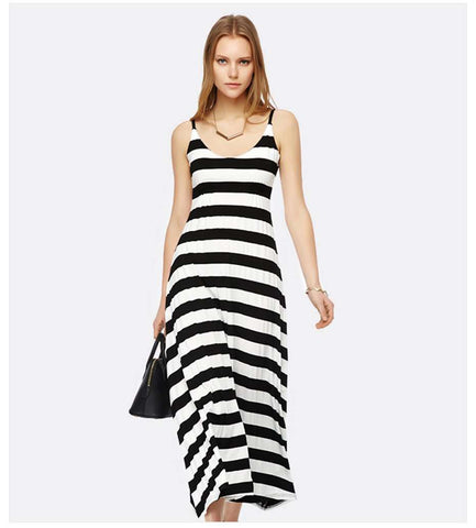 V-neck Casual Long Off the Shoulder Striped Cotton Dress