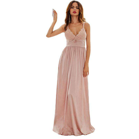 Pink Deep Lace V Neck Pleated Waist Maxi Dress