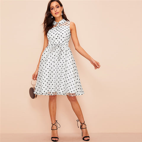 Vintage Front Belted Polka Dot White Sleeveless Midi Dress