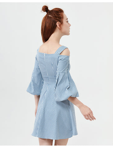 Stripe Vintage Casual Off Shoulder Cotton Midi Dresses