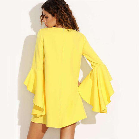 Ruffle Sleeve Yellow Crew Neck Mini Tunic Dress