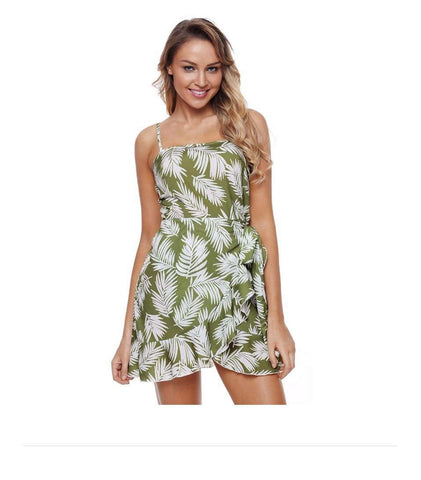 Green Casual Print Strapless Ruffle Beach Dress
