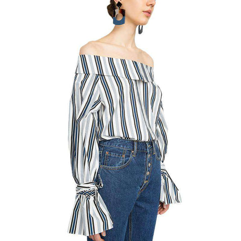 Blue Striped Slash Neck Butterfly Sleeve Casual Shirt