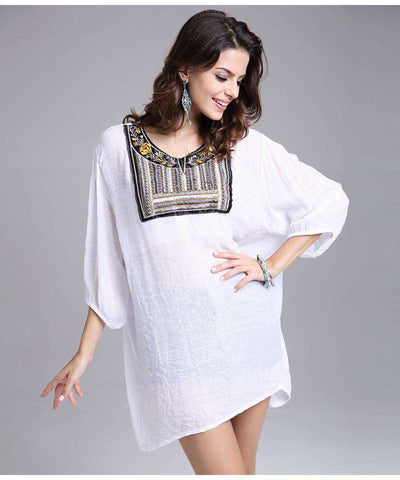 Maxi Tribal Round Neck Lantern Sleeve Blouse