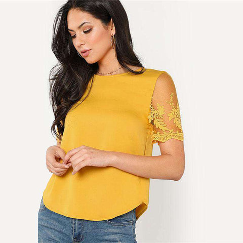 Ginger Flower Mesh Sleeve Round Neck Blouse