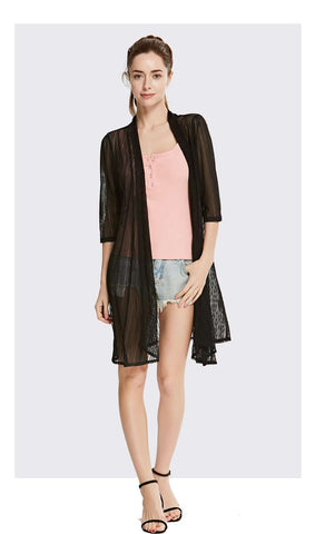 Chiffon Long Cardigan Half Sleeves Thin Coat