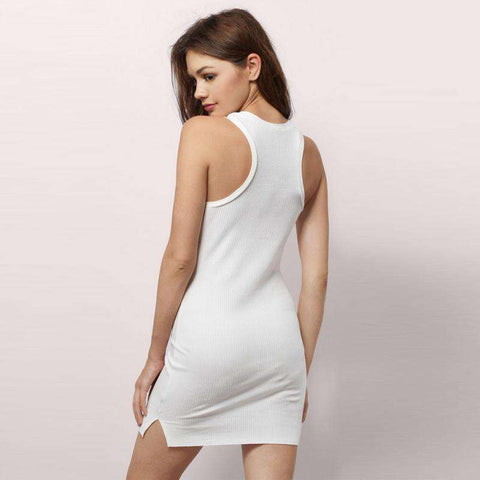 White Sleeveless O-Neck Cold Shoulder Split Side Dress
