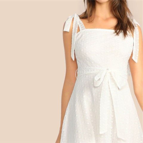 Overlay Knot Belted High Waist Midi White Party Dress