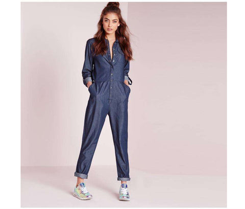 Long Sleeve Denim Jeans Loose Jumpsuit