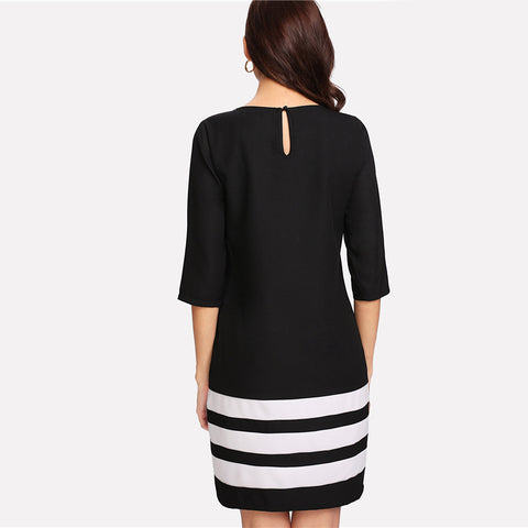 Striped Block Round Neck Half Sleeve Shift Dress