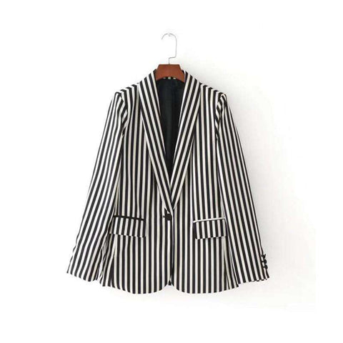 Black Striped Work Suit Blazer