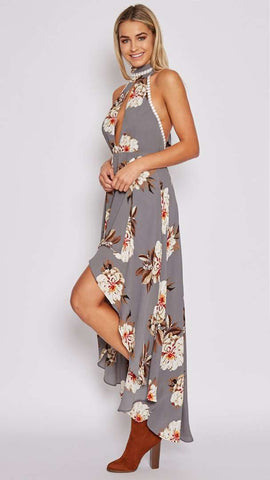 Off The Shoulder Backless Floral Print Dress