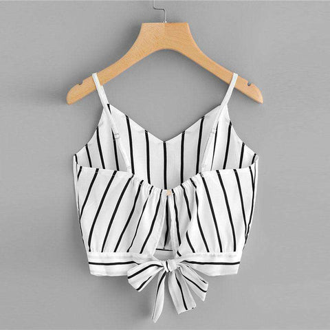Bow Knot Tie Vest Striped Split Crop Top