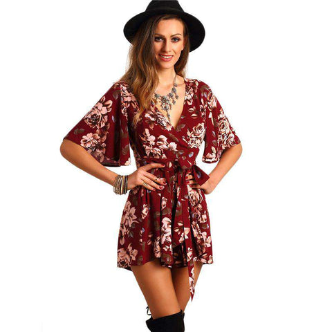 Red Deep V Neck Short Sleeve Floral Tie Waist Jumpsuit