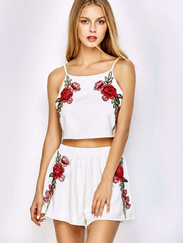 Rose Floral Embroidery Bowknot Sleeveless Top Set