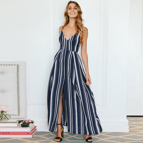 a91f554e235 Stripe Chiffon High Waist Sundress Split Maxi Dress ...