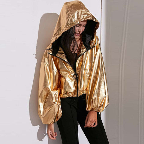Casual Loose Gold Pocket Lantern Sleeve Jacket