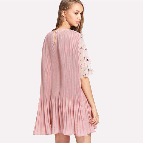 Floral Applique Mesh Sleeve Pleated Pink Dress