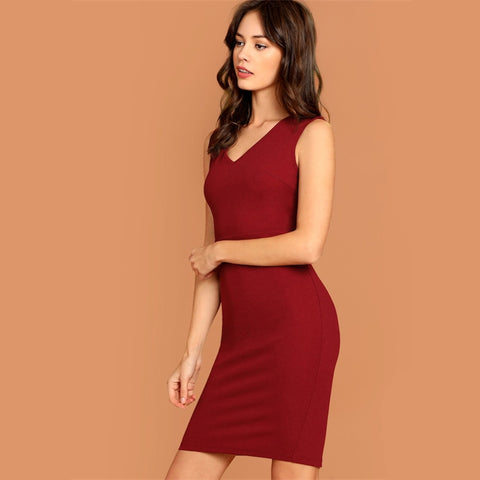 Burgundy V-Neck Slit Pencil High Waist Midi Party Dress