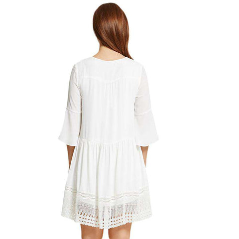 White Lace Patchwork Casual Mini Dresses