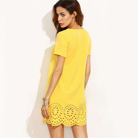 Mini Fall Yellow Short Sleeve Hollow Hem Shift Dress