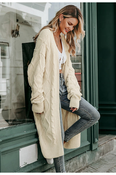 Solid Long Sleeve Cardigan Jumper Sweater Coat