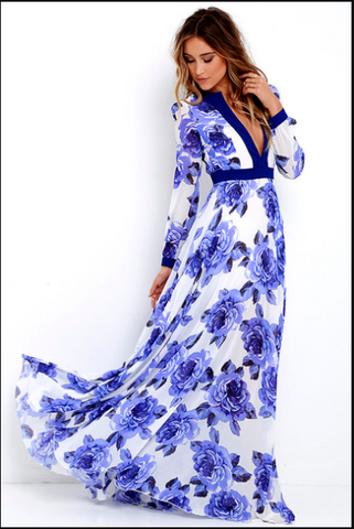 V-neck Long Sleeve Boho Floral Print Chiffon Maxi Dress Blue