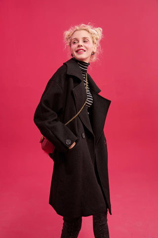 Black Solid Straight Double Breasted Belted Wool Coat