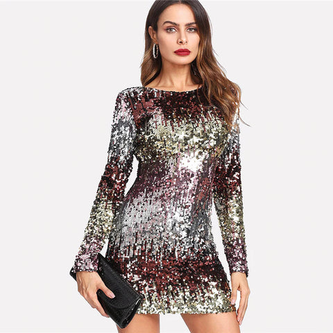 Multi Sequined Round Neck Long Sleeve Pencil Party Dress