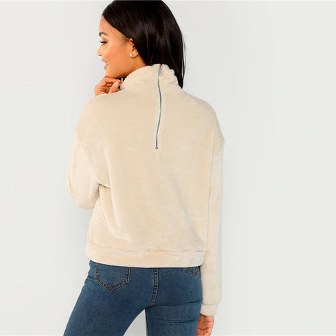 Apricot High Neck Faux Fur Belted Pullover Sweatshirt