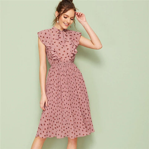 Cap Sleeves Tie Neck Ruffle Trim Polka Dot Pleated Dress