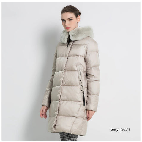 Rabbit Fur Collar Thick Women Winter Coat