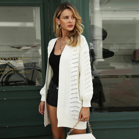 Long Knitted Hollow Out Loose Cardigan Coat