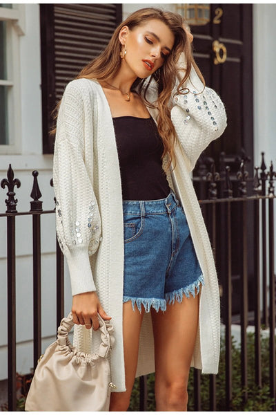 Lantern Sleeve Sequin Long Cardigan
