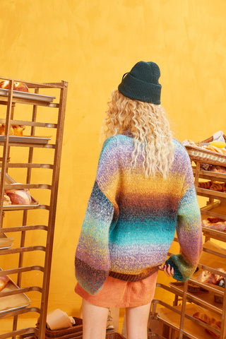 Rainbow Color Striped Ramp Knitted Oversize Sweater
