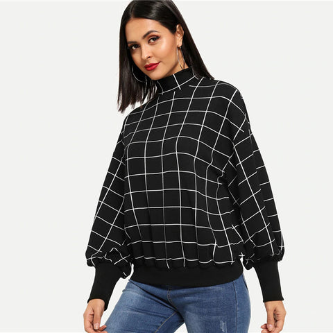 Mock-Neck Grid Plaid Stand Collar Pullover Sweatshirt