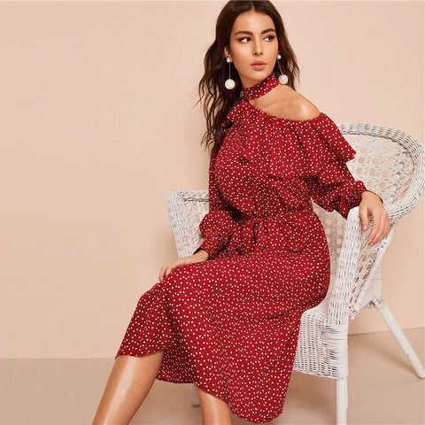 Polka Dot Trim Cut Neck Long Sleeves Ruffle Belted Dress