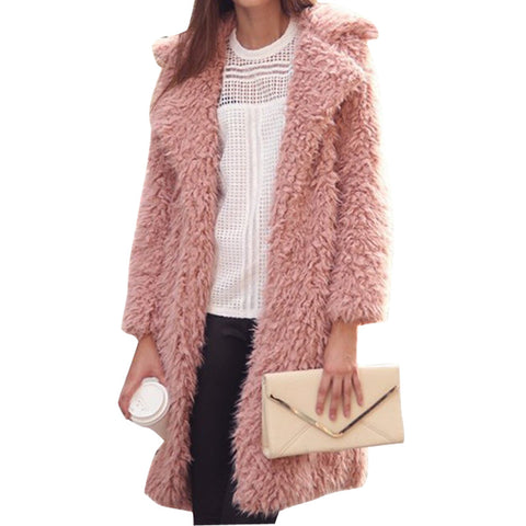Women Fur Coat Long Sleeve Cardigan