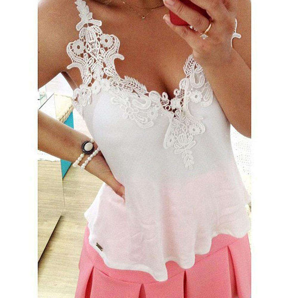 Sexy Summer Girls Women White Lace Blouse Deep V Vest Shirts Tops