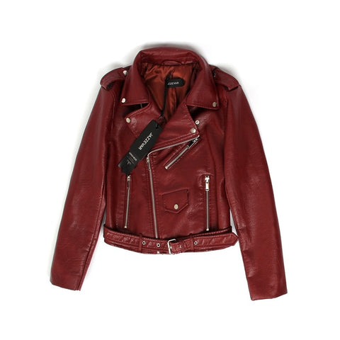 Turn-Down Collar Short Zipper PU Leather Jacket