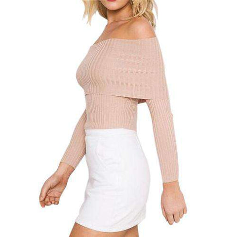 High Quality Fashion Sweater Long Sleeve Off Shoulder