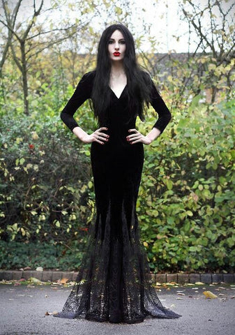 Gothic Morticia Addams Witch Halloween Costume