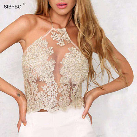 Elegant  White / Black Backless Gauze Spaghetti Strap Halter Lace Crop Top