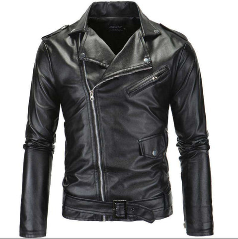 Men's brand rock leather jacket, motorcycle leather clothes Slim