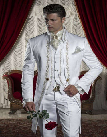 Embroidery White Men Suits Wedding/Prom Blazer