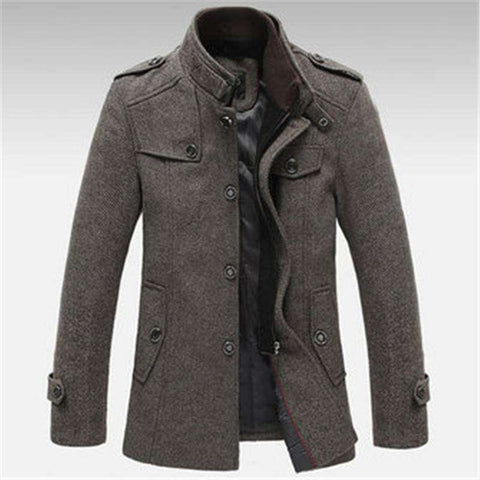 Men's Casual Knitted Stand Collar Wool Blend Long Jackets